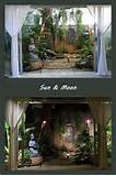 Tropical zen garden at night