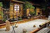 Japanese zen garden design with bamboo