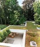 Facade Garden Design of Modern House with Zen Garden And Green Roof