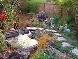 babbling brook rambles through English-style country garden