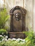 Lion Outdoor Wall Water Fountain Neoclassic European Garden Decor Faux ...
