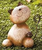 outdoor garden yard kitty stone critter decor statue cat ebay