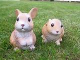 rabbit babies garden statues outdoor animal yard decor