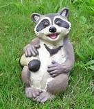 sitting raccoon animal garden statue outdoor lawn decor ebay