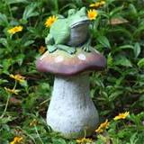 frog on mushroom garden statue whimsical lawn decor ebay