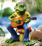 hippie frog garden statue outdoor yard art decor guitar peace mushroom