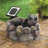 plump frog hollow solar powered outdoor garden decor water fountain