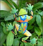 painted metal frog plant stick outdoor garden decor