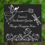 personalized garden stepping stone plaque sign fairy dragonfly decor