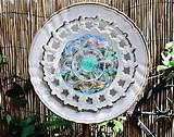gold glass flower garden yard art garden decor glass plate flower