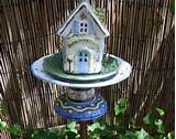 yard art teacup bird feeder garden totem vintage garden home decor