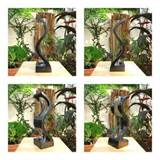 handmade modern art mango wood vase home decor garden decor s shape