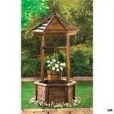 Rustic Wood Wishing Well Outdoor Flowerpot Planter Garden Patio Decor ...