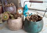 primitive rustic garden pots for parties or home decor set of 5 by