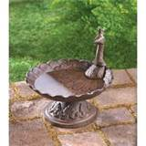 Art Deco Peacock Rustic Cast Iron Outdoor Garden Decor Birdbath or ...