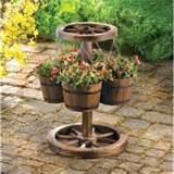 Rustic Country Wagon Wheel Outdoor Garden Decor Planter - holds four ...