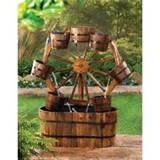 Rustic Country Wagon Wheel Wood Outdoor Garden Decor Electric Water ...