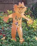 rustic metal scarecrow garden stake 28 x 37 hand crafted metal