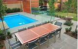 pool landscaping ideas dinning tables