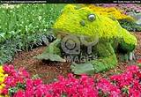 royalty free image of garden design flower frog
