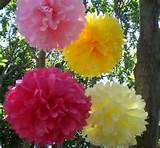 Birthday Party Decorations..7 Hanging Poms Plus 3 Free Flowers...ANY ...