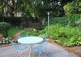 this garden with its light blue metal furniture lush green plants and ...