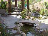 what about a calming zen island patio with garden bridge