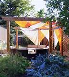 we installed the shade sails for this wonderfully creative garden ...