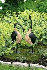 geese pair metal lawn yard outdoor garden patio decor home art unique