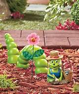 ceramic green inchworm garden art accent unique spring yard decor new