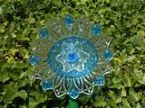 garden art blue glass flower