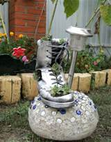 diy old shoe garden decor idea solar garden lamp