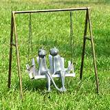 frogs on porch swing outdoor garden statue