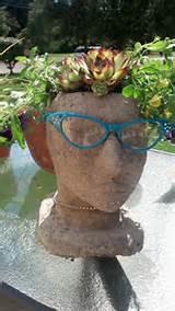 hypertufa head planter outdoor garden decor by totallytufa on etsy