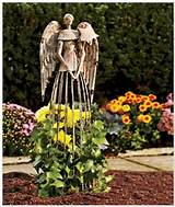 antiqued metal angel statue garden sculpture decor yard outdoors art