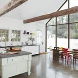 Nice Looking Shabby Chic Kitchen In White Style And Big Glass Windows ...