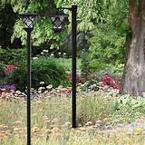 home pair of solar powered lamp post lights
