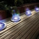 solar powered stainless steel blue deck lights
