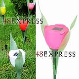 1pc pink tulip led solar light courtyard lawn garden decorative lights