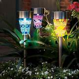 purple gardman garden colour decorative mosaic solar border lights