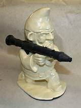 unpainted combat garden gnome with rocket launcher