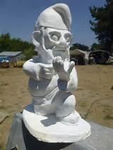 unpainted combat garden gnome in kneeling position with m 16