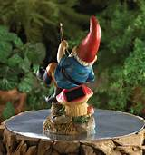 fishing gnome solar statue