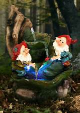 two gnomes on leaves water feature fountain with lights cascade garden