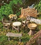 ... Fairy Furniture Set Dollhouse Gnomes Yard Garden Decor Zen Flowers