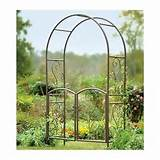 garden arbor trellis arch gate wrought iron metal entryway bronze rose