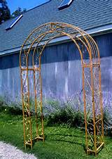 wrought iron round top arbor trellis metal garden arch yard art