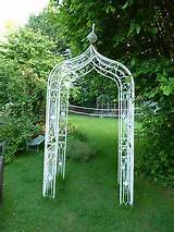 cream shabby vintage garden arch trellis very chic metal floral ornate