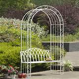 Suntime Gloucester Bench with Arch in White - Garden - 2 Seater - Cast ...