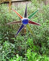 stained glass joined together to create a spectacluar garden art star